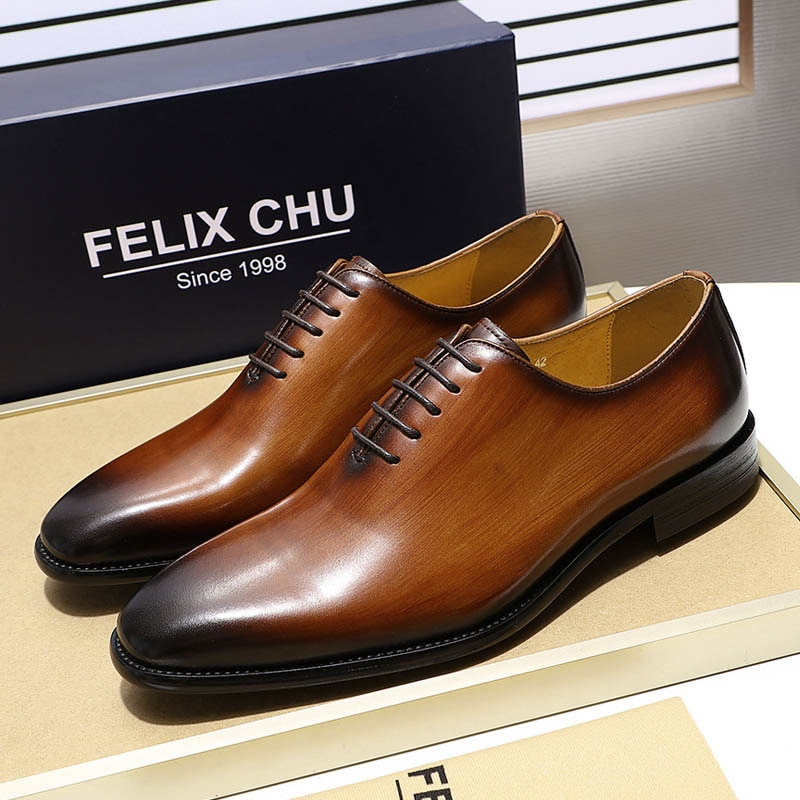 Handmade Men's Plain Toe Wholecut Oxford Genuine Leather Dress Shoes Brown Black Hand-Painted Shoes Male Formal Shoe Man Shoes