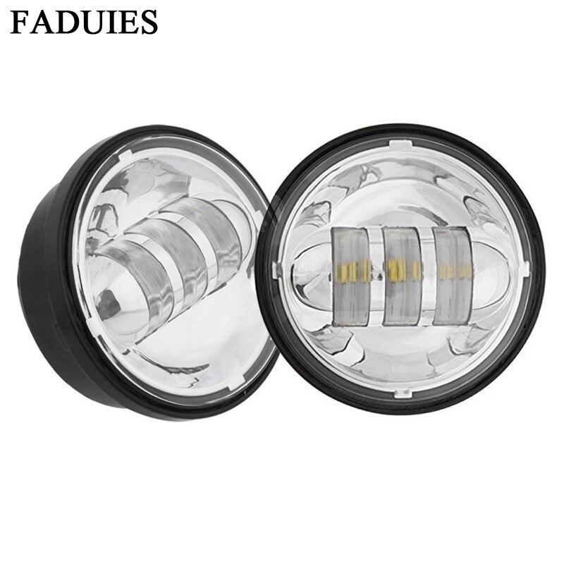 FADUIES 4,5 pulgadas cromo LED auxiliar punto antiniebla que pasa la lámpara de luz para bicicleta FLHTCU Ultra Classic Softail Electra Glide Road King