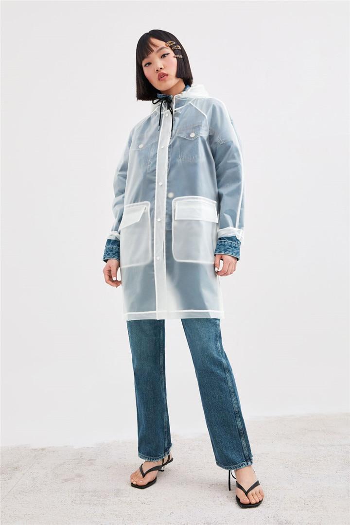 PVC Transfer ver a través claro largo chaqueta con capucha de manga larga abrigos de lluvia de moda de señora chaquetas impermeables de moda transparente