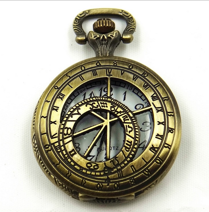 Medio Superior hueco brújula del Zodíaco la astrología Estilo Vintage bolsillo, de mano de collar de reloj de Moda Antigua de las mujeres casuales retro vestido
