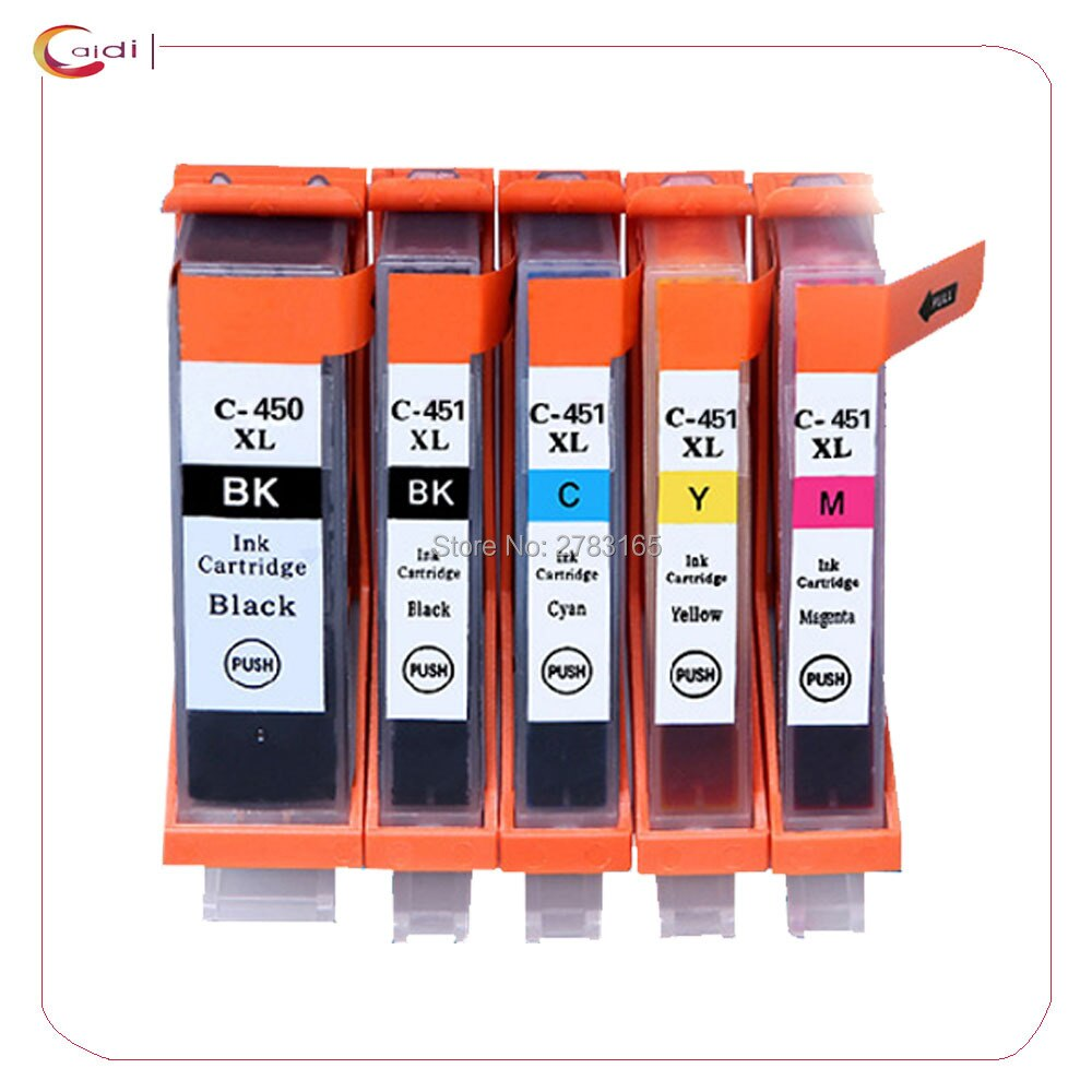 5 pçs cartucho de tinta compatível para canon pixma mg5440 mg5540 mg6440 ip7240 mx924 ix6540 ix6840 impressora a jato tinta pgi 450 cli 451