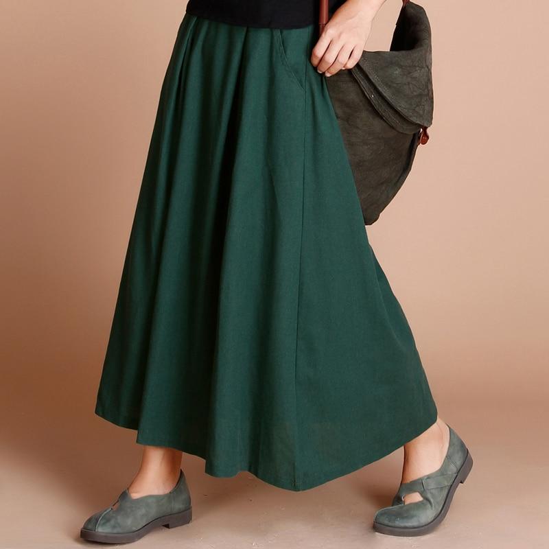 2017 mujeres Retro étnico elegante Lino Maxi Faldas Mujer sólido minimalista largo Falda plisada tamaño grande enagua para señoras