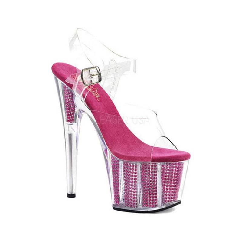 Nuevos zapatos de banquete transparentes, sandalias de plataforma brillantes de 15 cm, zapatos de baile de barra sexis para discoteca