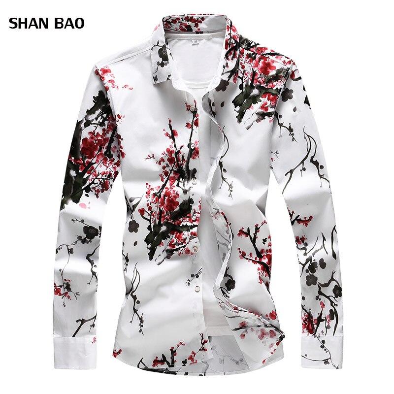 Camisa de los hombres de Otoño de 2018 nuevos hombres de moda de la flor de ciruela largo de satén Camisa de manga corta Slim Fit Camisa Social Masculina de talla grande 7XL