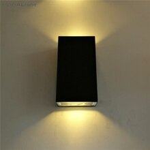 Exterior Wall Light Black 6W 10W Led Outdoor Waterproof IP65 Lamp Outdoor Industrial Modern Aluminium Baking Tempered Glass AC