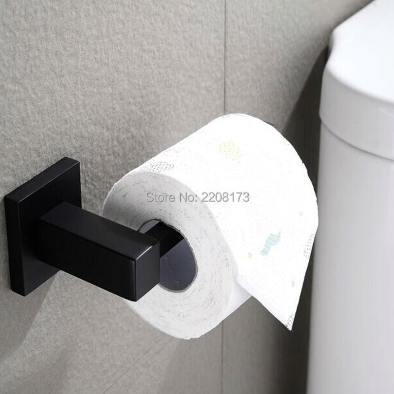 الحمام Wc المعاصرة نمط ماتي الأسود النحاس المرحاض ورقة حامل الحمام المطبخ ورقة الأنسجة لفة شماعات جدار جبل
