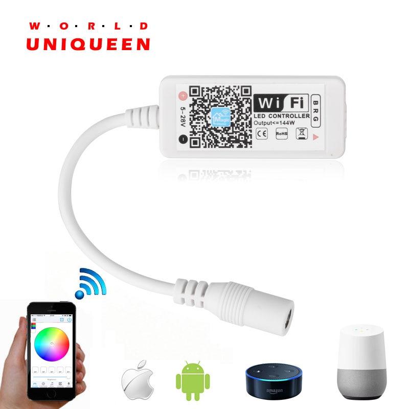 Mini Controlador de luz de banda RGB Wifi con control de música y control de voz compatible con Google home y Amazon Alexa, aplicación inteligente