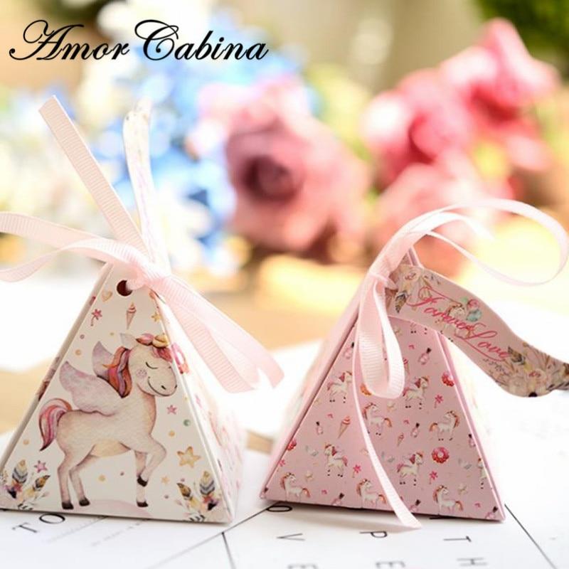 صندوق حلوى على شكل وحيد القرن الكرتوني ، صندوق هدايا الزفاف مثل Bomboniera ، صندوق هدايا حفلات أعياد الميلاد للأطفال ، حقيبة حلوى على شكل حصان قوس ...