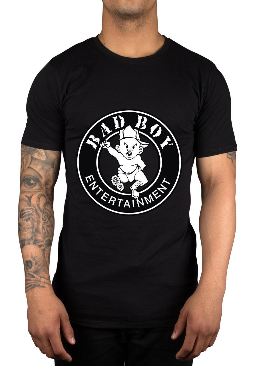 O Puff Daddy Registros de Bad Boy T-Shirt Do Logotipo Biggie Meninos Coque Francês Montana Diddy orgulho t camisa Casual Cool dos homens Unisex nova Moda
