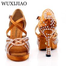 WUXIJIAO nouvelles femmes plate-forme imperméable Satin chaussures de danse latine strass Salsa chaussures de danse de salle de bal couleurs bronze