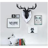 home statue decoration accessories furnishing wood resin deer head craft home hanging pendant bar mural deer living room wall