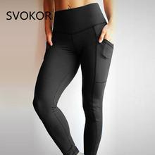 SVOKOR S-L Fold Women Leggings Casual pocket High Waist Fold Ankle-Length Pants Slim Fashion Breathable Fitness Women Leggings