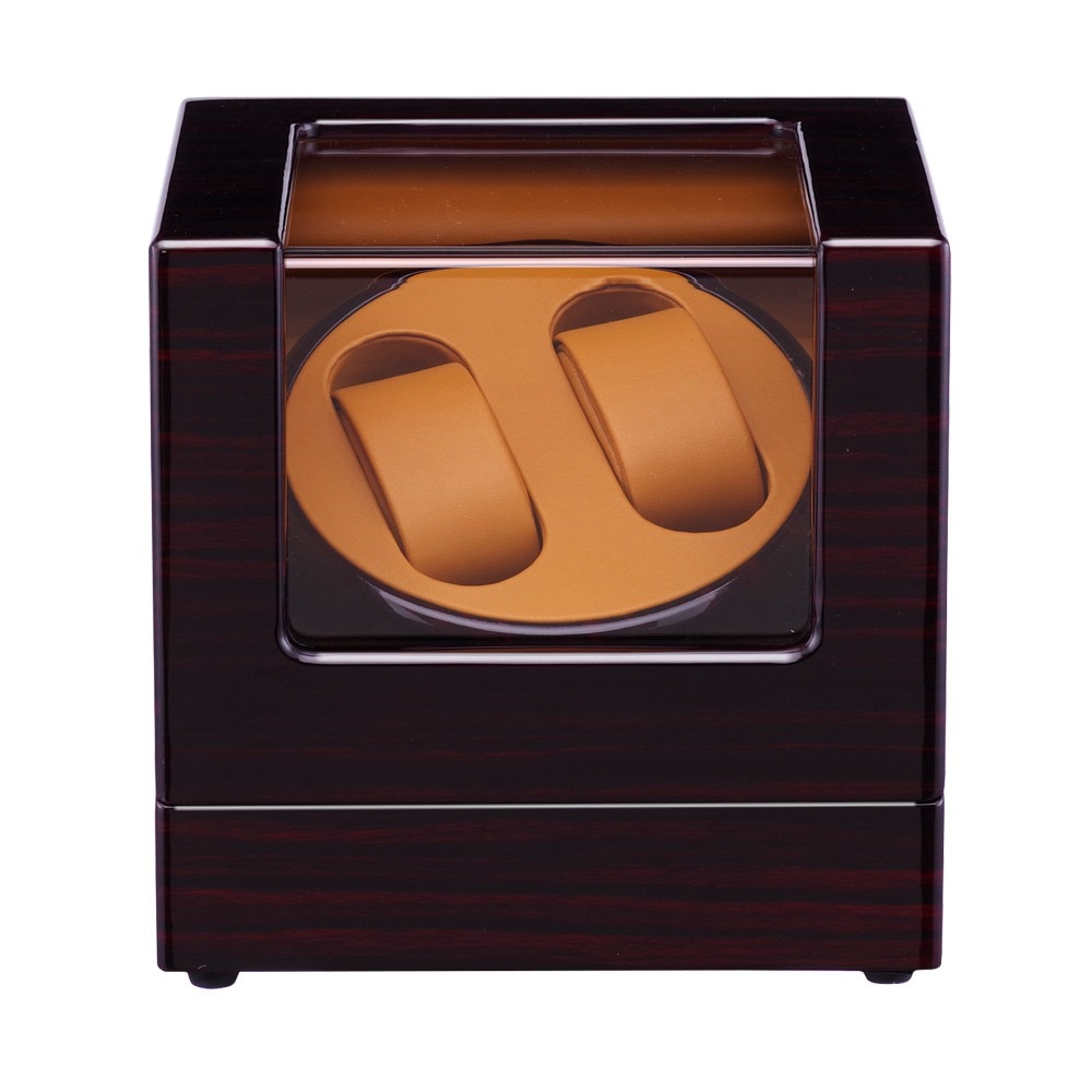 Devanadera de reloj, LT rotación automática de madera 2 + 0 caja de almacenamiento caja de exhibición (exterior es rosa rojo negro dentro es marrón) 19 nuevo estilo