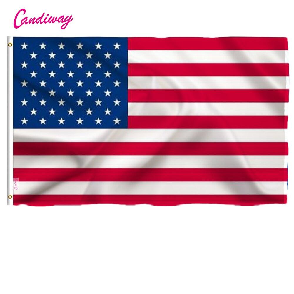 Candiway 3x5 pies americanos US Color vivo y UV cabeza de lona resistente a la decoloración doble cosido banderas de EE. UU. Con arandelas de latón