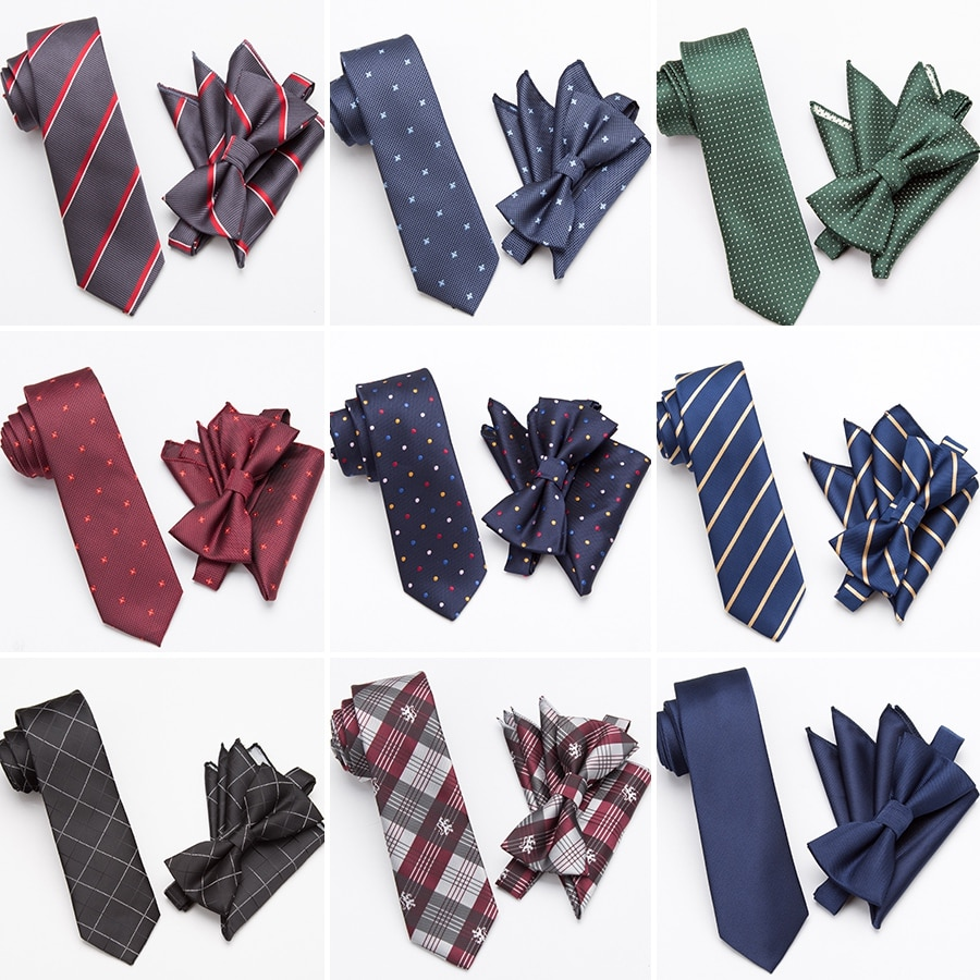 Mens Tie Set Fashion Bowtie Cravat Necktie Skinny Ties for Men Wedding Gifts Dress Handkerchief Pocket Square Suit Accessories недорого