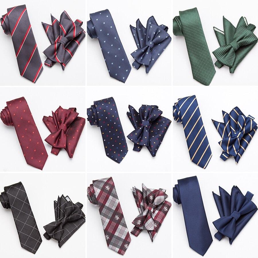 Conjunto de gravata masculina moda gravata cravat gravata magro laços para homens presentes de casamento vestido lenço bolso quadrado terno acessórios