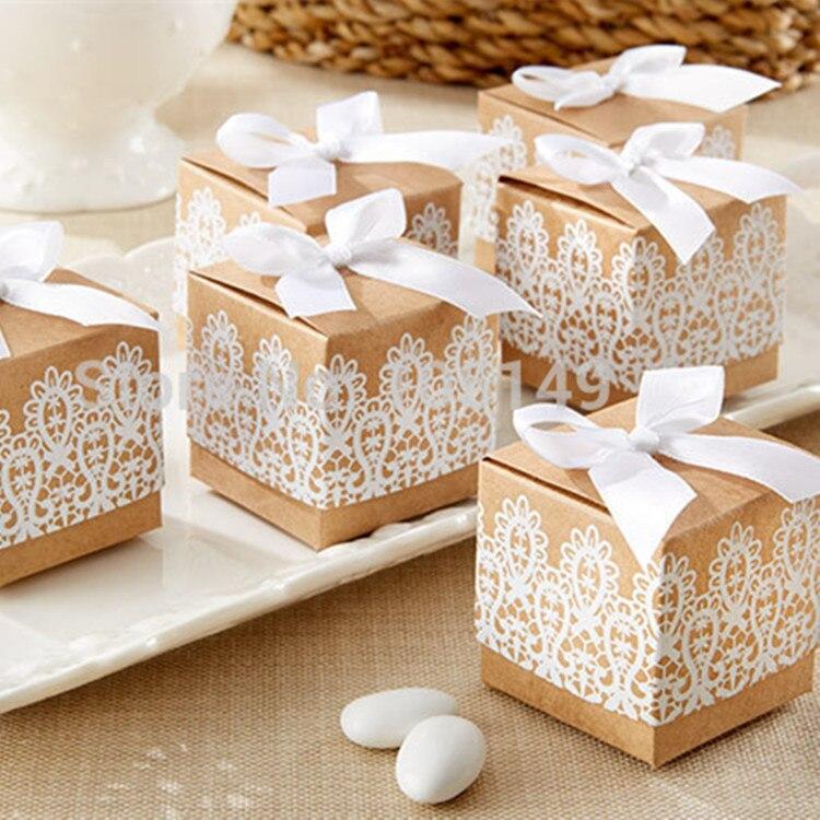 Caja de favores de Boda de encaje blanco, 50 Uds., papel Kraft,...