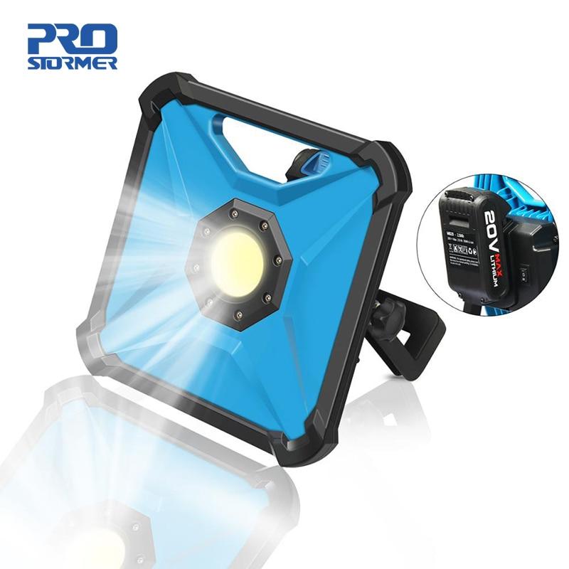 Luz de trabalho portátil 20v led sem fio multifunções recarregável lâmpada trabalho recarregável 2000 mah bateria spotlight por prostormer