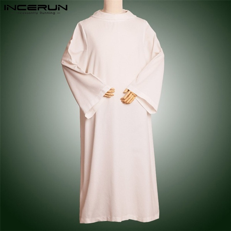 Incerun 2020 manga longa muçulmano árabe islâmico kaftan solto com capuz topos arábia saudita médio oriente vestes sólidos jubba thobe