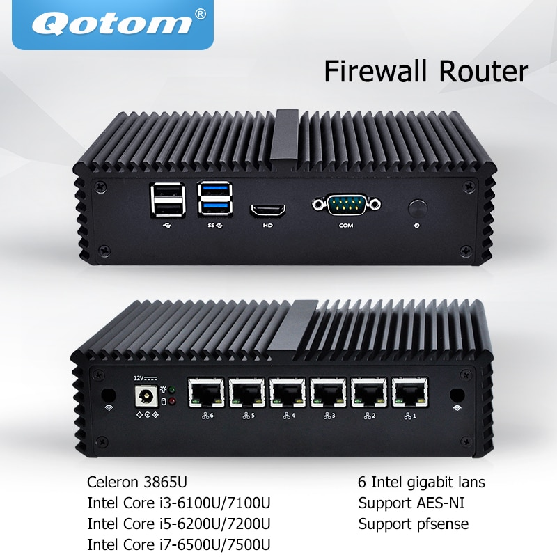 QOTOM البسيطة PC النواة i3 i5 i7 بدون مروحة VPN الكمبيوتر 6 جيجابت إيثرنت AES-NI OPNsense جدار الحماية أوبونتو Sophos Q555G6 Q575G6