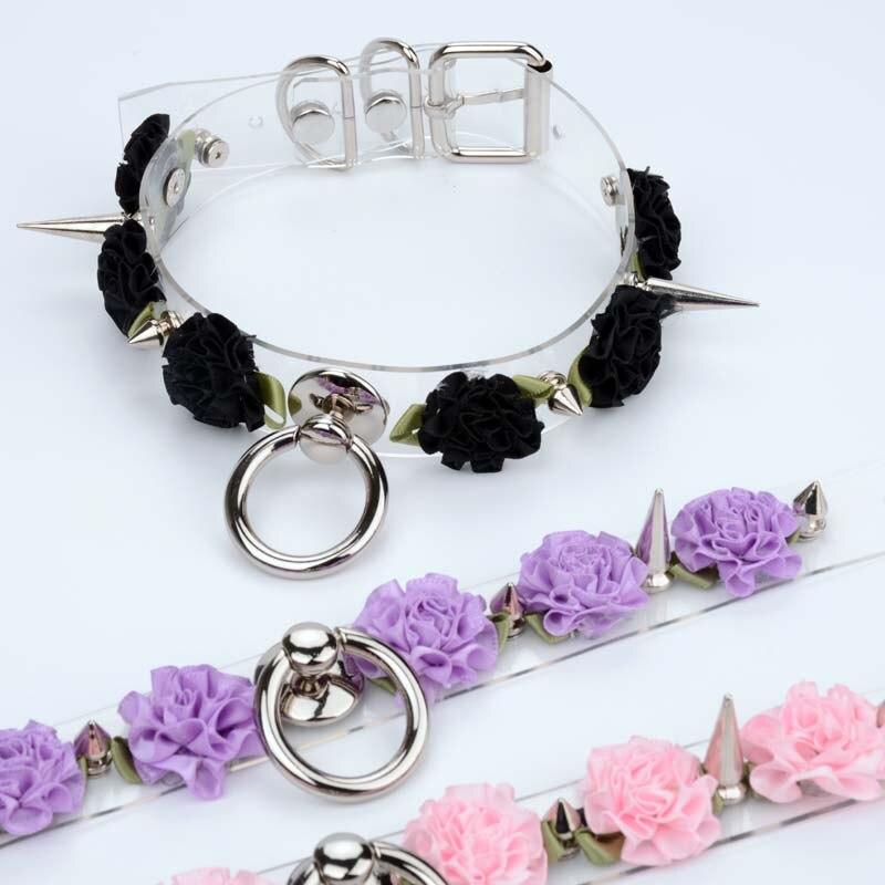 Ожерелье с прозрачным цветком Харадзюку, ручной работы, с шипами