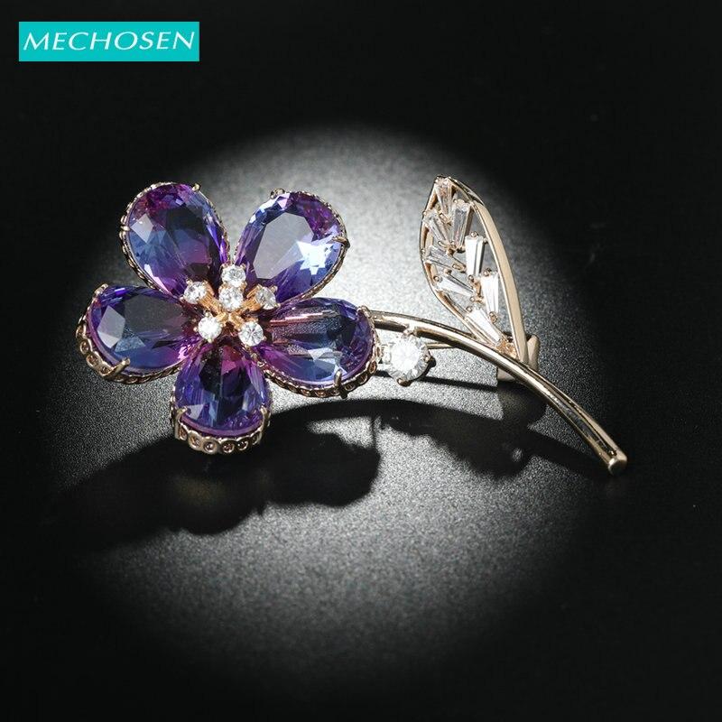 MECHOSEN New Elegant Flower Shape Brooches Shiny Full Zircon Plant Copper Accessories Women's Banquet Sweater Suit Pins Corsage