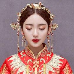 Chinês feito à mão hairpin varas passos coronet conjuntos de brincos de balanço tiara chinês jóias de cabelo enfeites de cabelo atacado