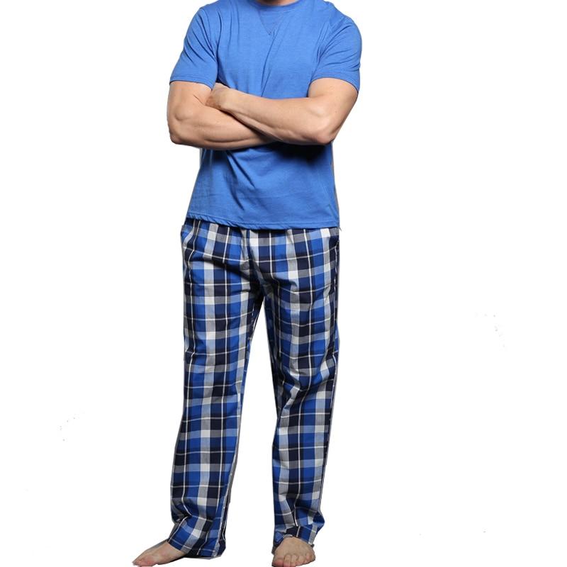 Men's Pajamas summer short Sleeve Cotton Pyjamas Trousers Mens sleepwear Lounge  Sleep Pajama Set