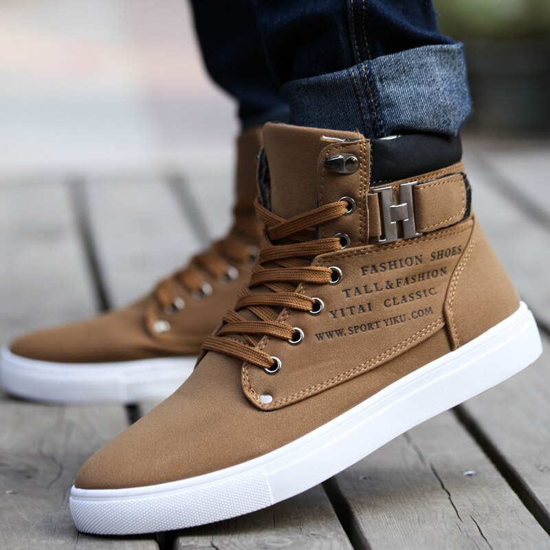 Hot 2020 primavera encaje de otoño-Up zapatos de lona para hombres de gran tamaño hebilla masculina botines casuales zapatos de cuero de moda letras planas