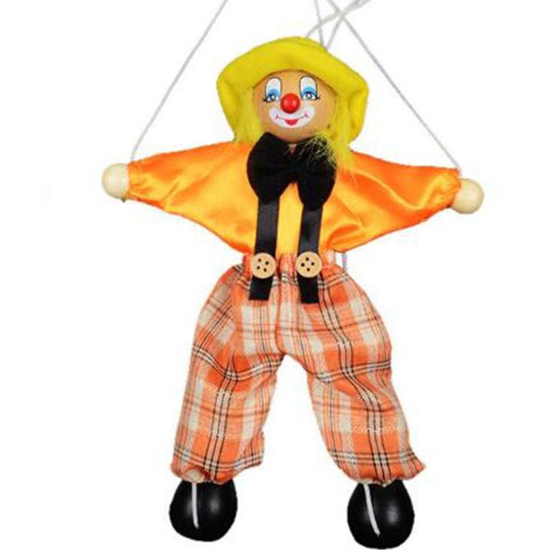 Gran oferta de colores al azar tirón de cuerda títere payaso de madera Marionette actividad conjunta muñeca Vintage niño juguete divertido broches prácticos