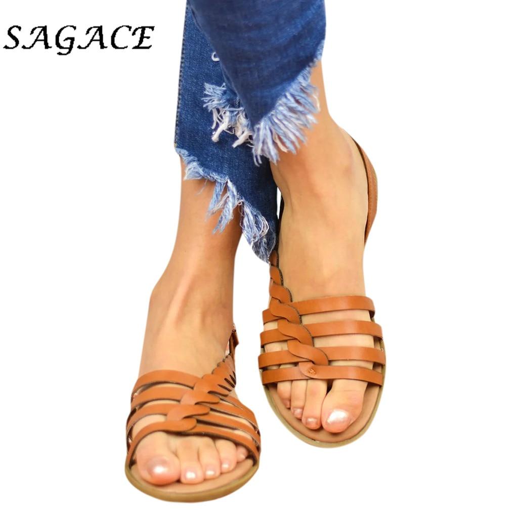 Sagace sandálias femininas de salto plano, tamanhos grandes, sandálias de praia, verão, 2019