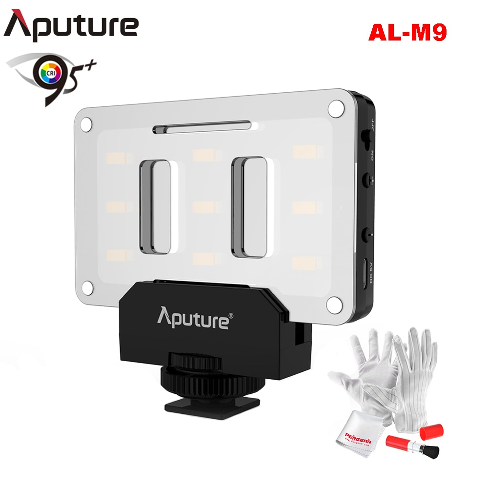 Aputure AL-M9 luz LED para vídeo con filtro Pockable TLCI/CRI 95 + Luz de relleno para cámara 9 Uds abalorios SMD para cámara DSLR + Kit Pergear
