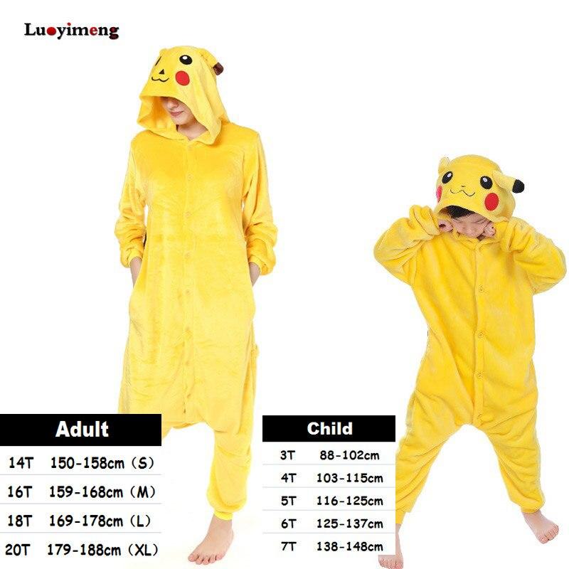 Kinder Kigurumi Einhorn Pyjamas Set Winter Mit Kapuze Tier Pikachu Pyjamas Jungen Mädchen Nachtwäsche Frauen Onesie Licorne Panda Kostüme
