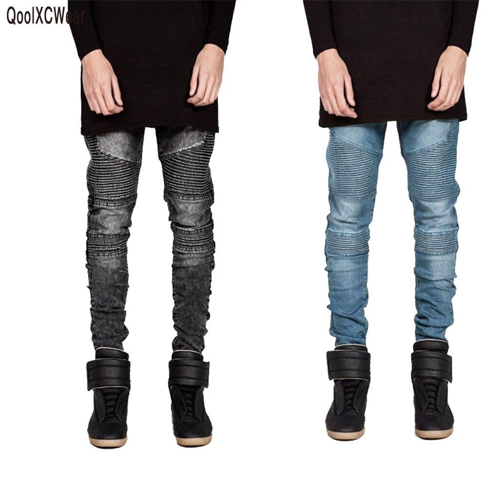QoolXCWear, pantalones vaqueros ajustados para hombre, pantalones vaqueros elásticos ajustados de pasarela, pantalones vaqueros de motociclista, pantalones vaqueros negros lavados para hombres, azul