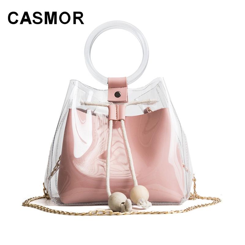 CASMOR 2018 Mini bolso de hombro de marca de moda para mujeres, cordón transparente, bonito bolso compuesto para chicas, bolsos de mano para mujer