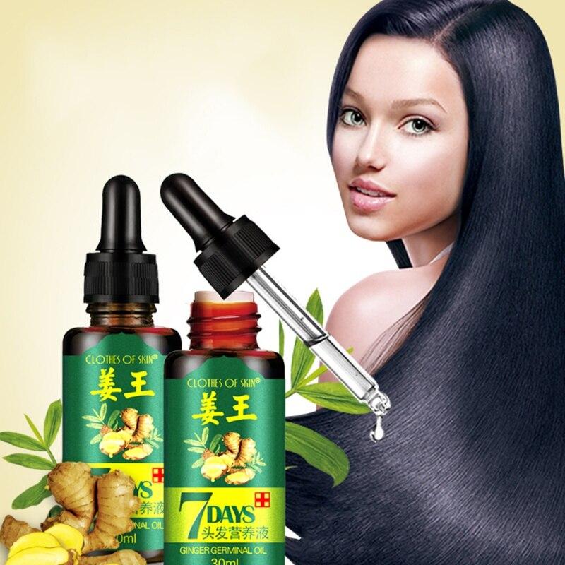7 dias 30ml eficaz crescimento do cabelo pomada cuidados com o cabelo saudável crescimento do cabelo essência óleo danificado nutrição do cabelo gengibre crescimento do cabelo