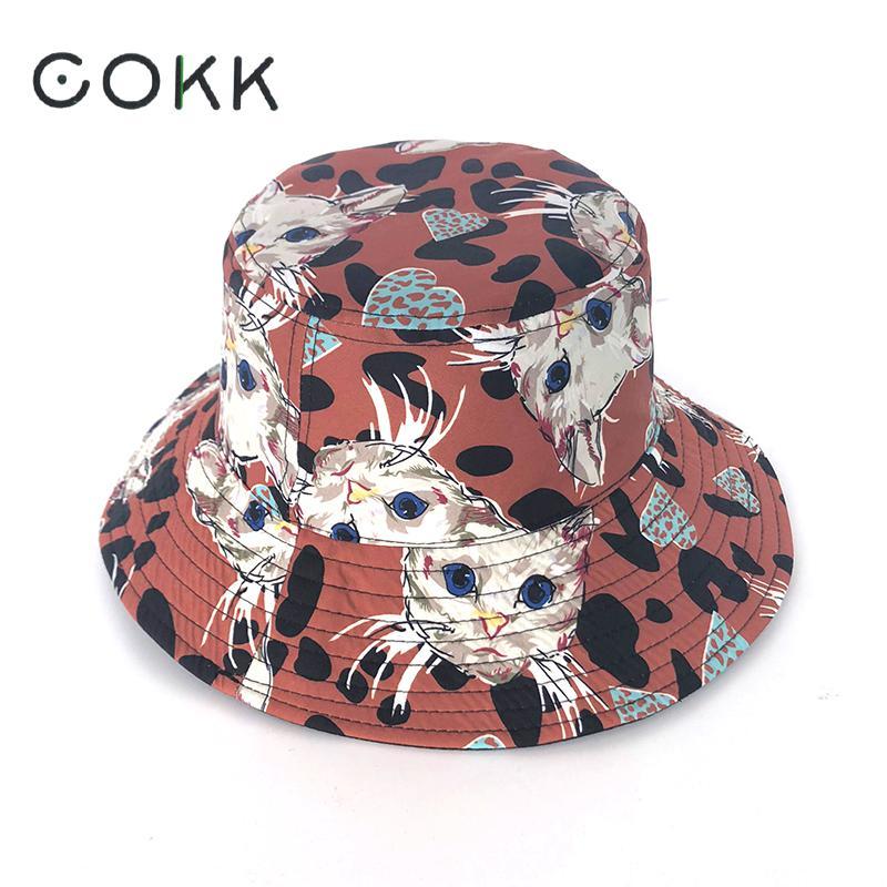 COKK Cartoon Cat Bucket Hat Women Girls Double sided Fisherman Cap Cute Korean Style Sunscreen Sunshade Sun Hat Panama Cap New