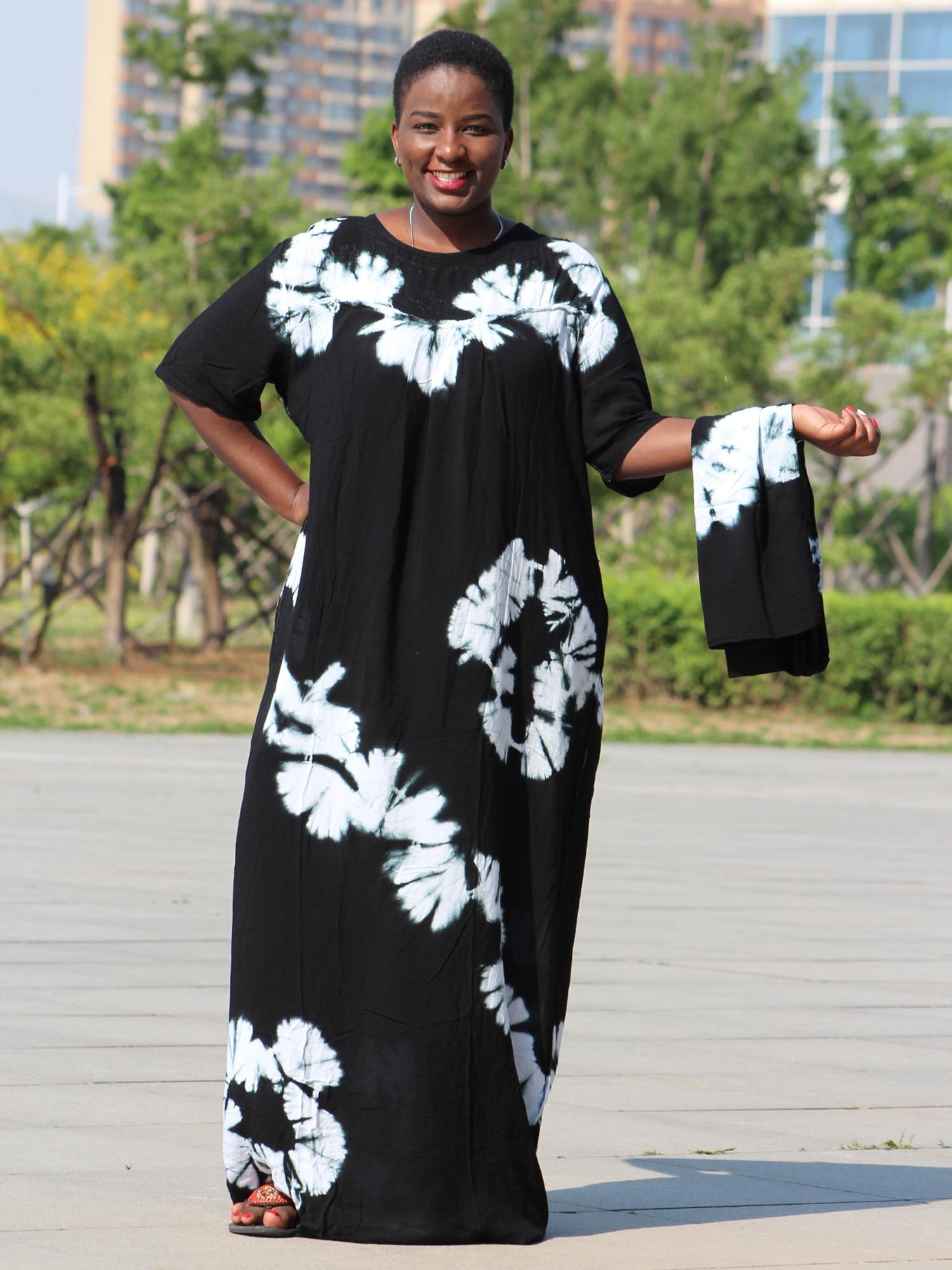 Dashikiage-فستان من القطن الأسود ، ناعم ومريح ، مع وشاح كبير