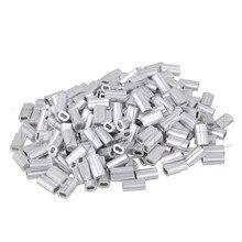 Pince de serrage en argent M1.2 fil   200 pièces, câble métallique à Double trou en aluminium