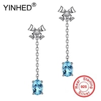 yinhed elegant bow knot dangle earrings for women 925 sterling silver blue crystal zircon wedding accessories drop earring ze073