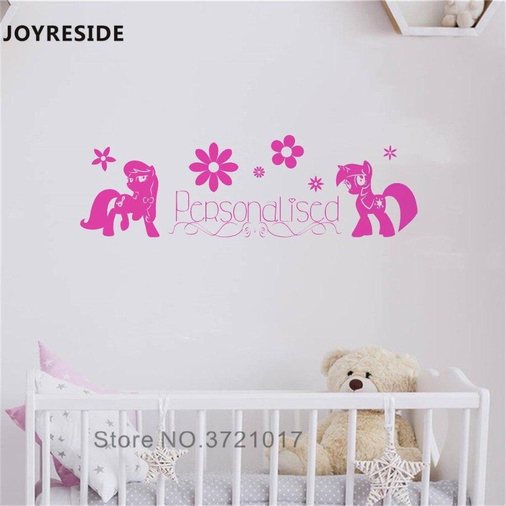 Pegatina de pared con nombre personalizado de flor joyresin, pegatina de estilo Pony para pared, decoración de vinilo para el hogar, para habitación de niñas, diseño Interior A883