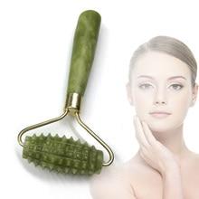 Rouleau de Massage du visage pierre de Jade lifting du visage mains cou corps Nature beauté Massage pierre Massage du visage Jade rouleau livraison directe