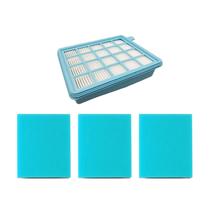4 unids/lote filtro kits 1 filtros hepa y 3 filtro de esponja de reemplazo para philips FC8470 FC8471 FC8472 FC8473 FC8474 FC8476 FC8477