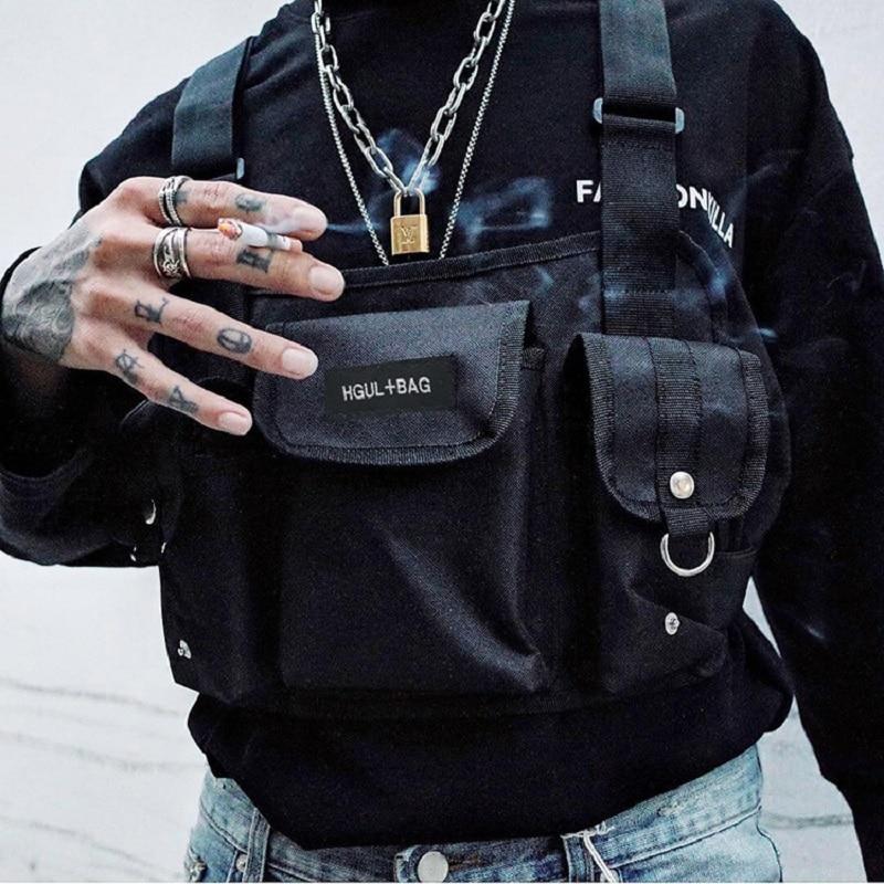 Kanye West sac de poitrine pour hommes Hip Hop Streetwear sac de poitrine fonctionnel HGUL sac de fronde militaire tactique Soulder sac sac de taille