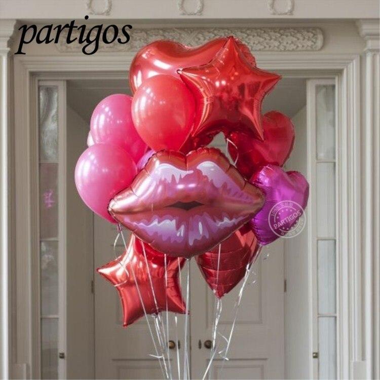 Ballons en Latex pour la saint-valentin pour fille, 12 pièces/ensemble, 76*73 cm, lèvres de 30 pouces, 24 pouces, cœur rouge, étoile rose, 2.3g