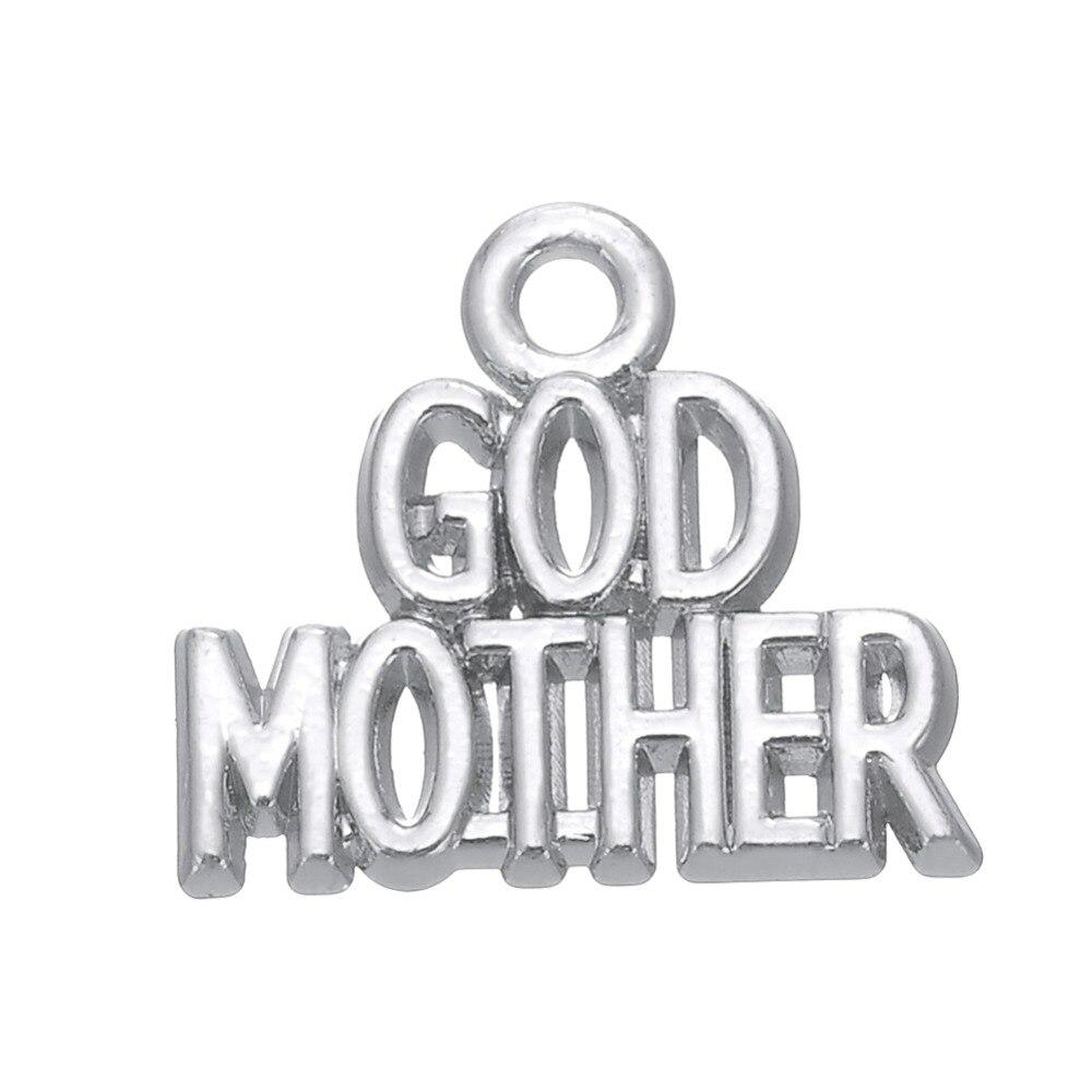 RAINXTAR moda Color oro Dios madre aleación abalorios de letras para el día de la madre 14*16mm AAC042
