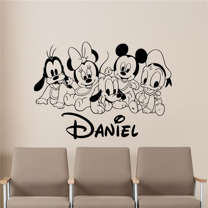 Personalized Cute Cartoon Mickey Minnie Wall Decal Custom Name Baby Vinyl Sticker Poster Decor Wall Decor kitchen D889