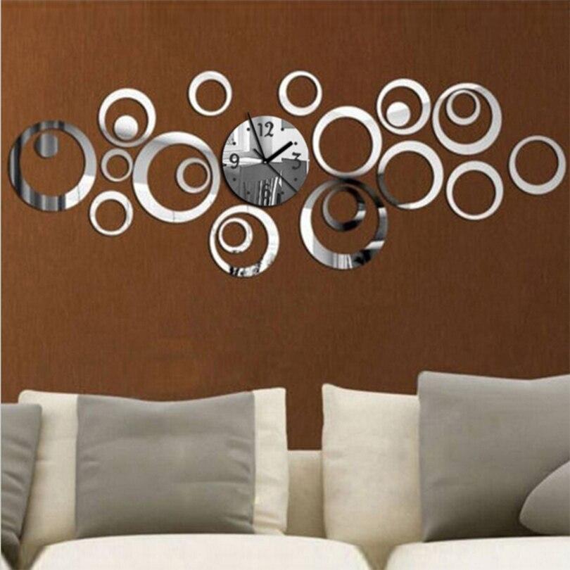 Новинка 2018 кварцевые круглые зеркальные настенные часы Европейский дизайн Reloj De Pared большие декоративные часы 3d Акриловый домашний декор для гостиной