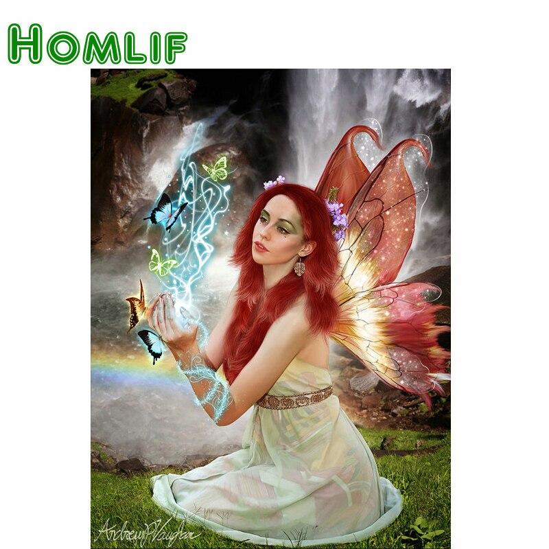 HOMLIF полностью квадратная/круглая дрель 5D DIY Алмазная картина красивая женщина 3D вышивка крестиком Бабочка Фея домашний декор