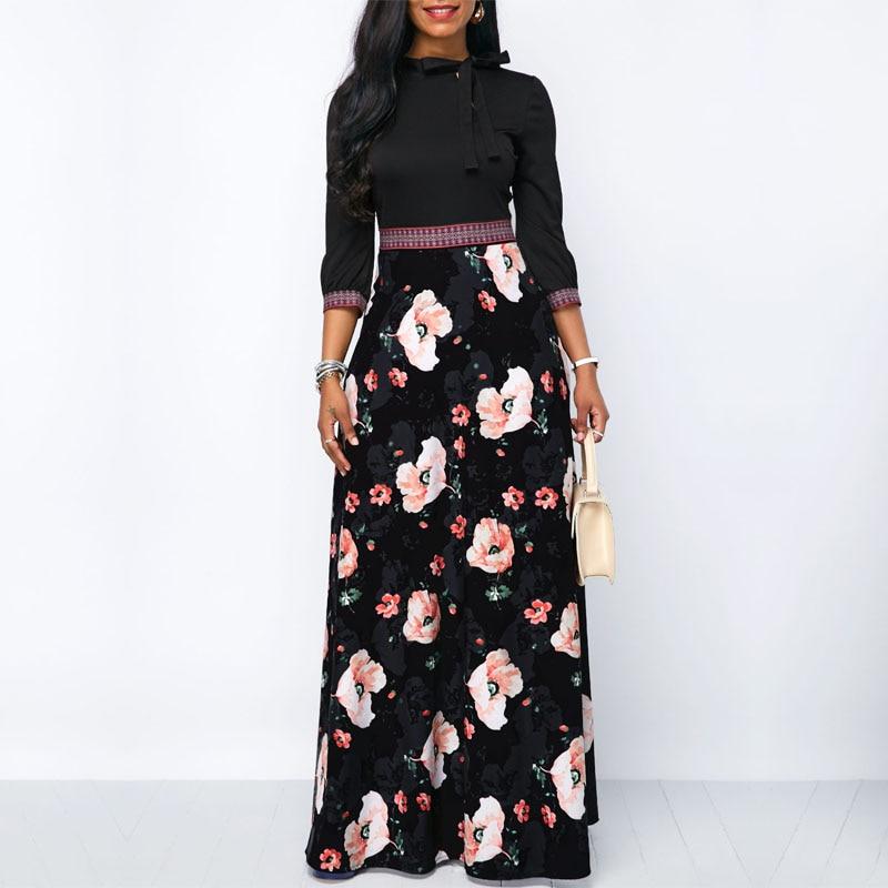 2019 primavera mujer Flora tres cuartos manga Casual fiesta Vintage Boho vestido largo